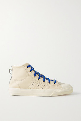 adidas + Pharrell Williams Hu Nizza Rf Rubber-trimmed Leather High-top Sneakers - Cream