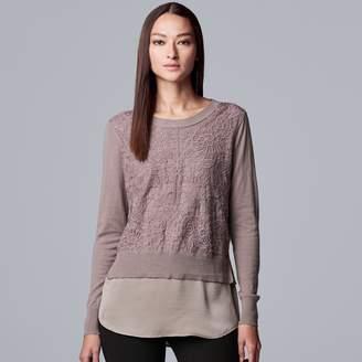 Vera Wang Women's Simply Vera Lace Pleat Sleeve