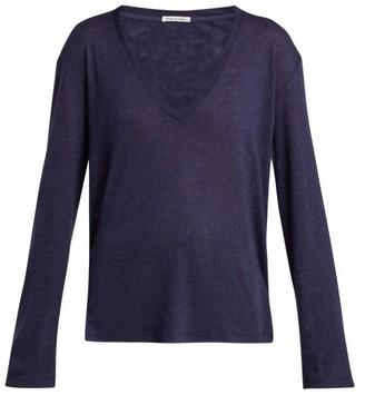 FRANCES DE LOURDES Louise Cashmere And Silk Long-sleeve T-shirt - Navy