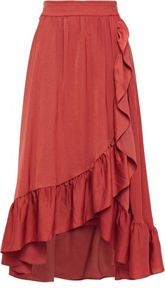 Maje Wrap-effect Ruffle-trimmed Satin Midi Skirt