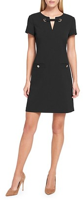 Tommy Hilfiger Grommet Scuba Crepe Shift Dress