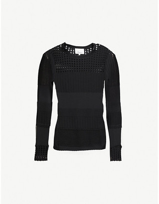 3.1 Phillip Lim Long-sleeved slim-fit cotton-blend knitted jumper