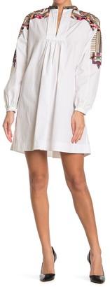 Valentino Embroidered Long Sleeve Poplin Dress