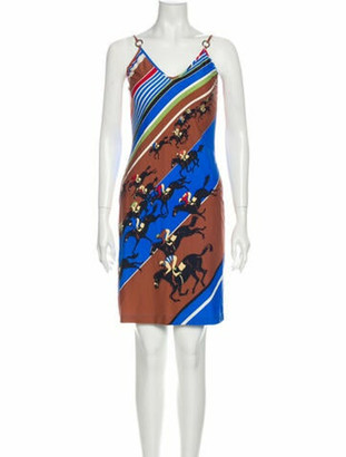 Hermes Printed Mini Dress Blue