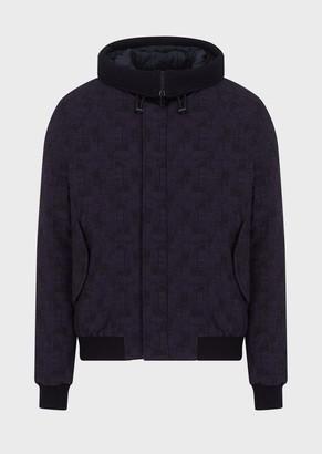 Emporio Armani Check, Textured, Bi-Stretch Fabric Jacket With Hood