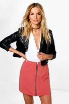 boohoo Louella Zip Front A Line Mini Skirt coral