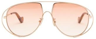Loewe Aviator Metal Sunglasses - Womens - Light Pink