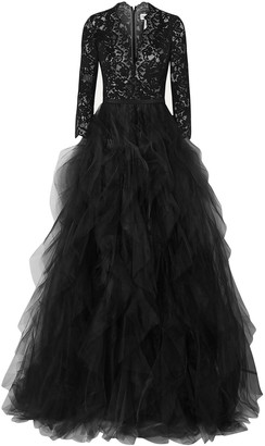 Oscar de la Renta Corded Lace And Ruffled Tulle Gown