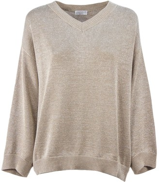 Brunello Cucinelli Beige Cotton-blend Knit Jumper