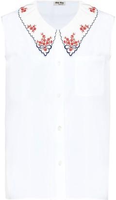 Miu Miu Embellished Collar Tank Top