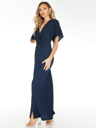 Quiz Crepe Knot Front Maxi Dress - Navy
