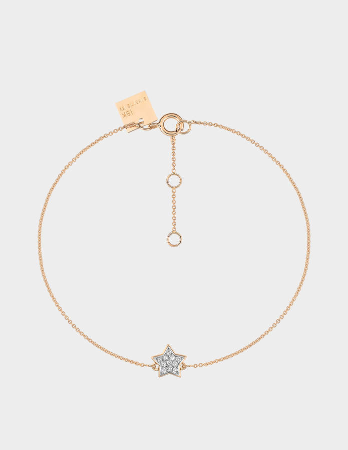 ginette_ny Tiny Diamond Star Bracelet in 18K Rose Gold and Diamonds
