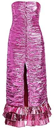 ATTICO Strapless Lame Dress