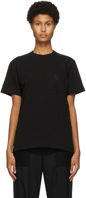 Sacai Black Embroidered Pocket T-Shirt