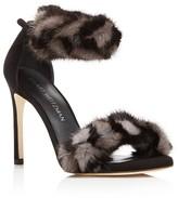 Stuart Weitzman Bunnylove Suede and Mink Fur High Heel Sandals