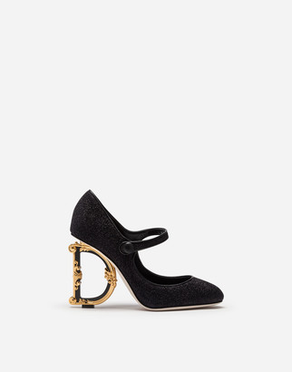 Dolce & Gabbana Mary Janes In Lurex With Sculpted Heel