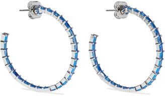 Cz By Kenneth Jay Lane Rhodium-plated Crystal Hoop Earrings