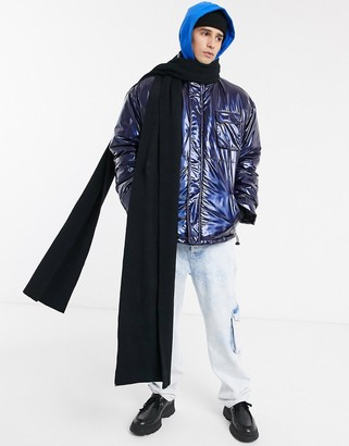ASOS DESIGN xxxl knitted scarf in black