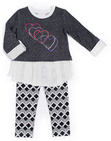 Little Lass Heart Snit Leggings Set - Preschool Girls 4-6x