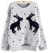 Emoyi Women Girl Ugly Christmas Shining Reindeer Snowflake Pullover Sweater Jumper