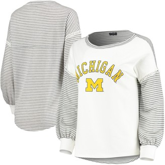 Women's White Michigan Wolverines Line It Up Striped Bubble Long Sleeve T-Shirt