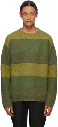 J.W.Anderson Green Striped Crewneck Sweater