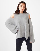 Fashion Union Cold Shoulder Funnel Sleeved Jumper