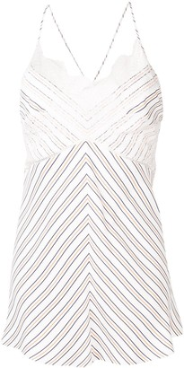 Victoria Beckham Diagonal Striped Lace Cami Top