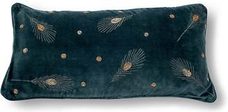 Joanna Buchanan Embroidered 10x20 Lumbar Pillow - Slate Gray Velvet