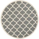 """Larson Geometric Dark Gray Indoor/Outdoor Area Rug Sol 72 Outdoor Rug Size: Round 7'10"""""""