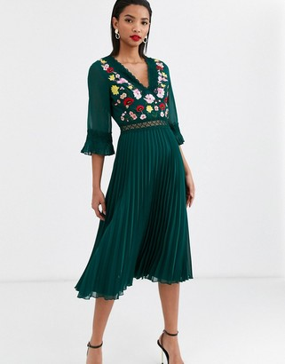 Asos Design DESIGN lace insert pleated midi dress with embroidery-Green