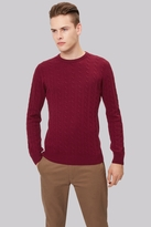 Moss Bros Wine Cable Crew Neck Jumper
