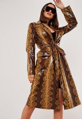Missguided Faux Leather Snake Print Trench Coat