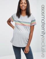 Asos Rainbow Stripe Placement T-Shirt