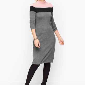 Talbots Mockneck Colorblock Sweater Dress