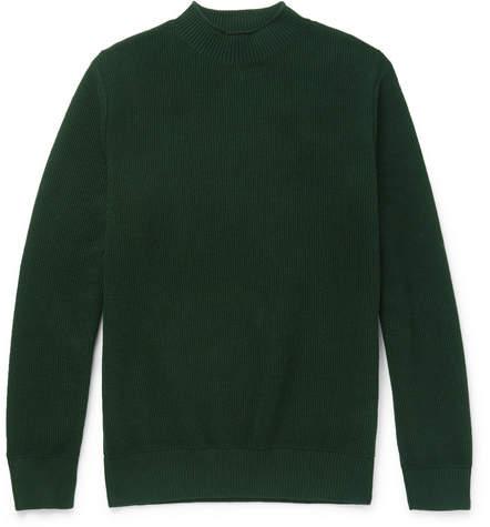 Sunspel Ribbed Cotton Mock-Neck Sweater