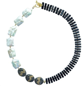 Farra Freshwater Pearls With Rhinestones & Black Coral Choker Necklace