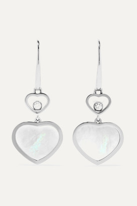 Chopard Happy Hearts 18-karat White Gold, Diamond And Mother-of-pearl Earrings - one size