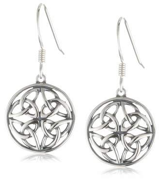 Celtic Amazon Collection Sterling Silver Oxidized Knot Round Drop Earrings