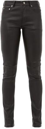 Saint Laurent Slim-fit Leather Trousers - Womens - Black