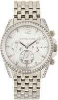 MICHAEL Michael Kors Pressley Pearlized Stainless Steel Chronograph Watch, White