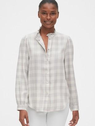 Gap Plaid Ruffle-Neck Shirt