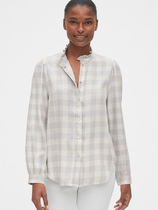 Gap Plaid Ruffle-Neck Shirt