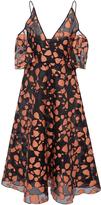 Lela Rose Open Shoulder Flutter Sleeve Dress