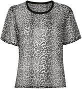 Saint Laurent leopard print semi-sheer T-shirt - women - Silk - 36