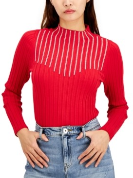 INC International Concepts Inc Rhinestone Mock-Neck Sweater, Created for Macy's
