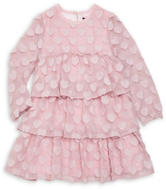 Imoga Little Girl's & Girl's Novelty Heart Tiered Chiffon A-Line Dress