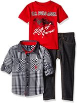U.S. Polo Assn. Boys' Toddler 3 Piece Long Sleeve Fancy Sport Shirt, T-Shirt Or Creeper, and Denim Jean Set