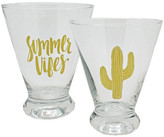 TMD Foil 11.5 oz. Cactus Stemless Martini Glass - Set of 2