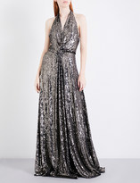 Jenny Packham Sequin-embellished silk gown